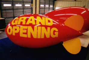 11' advertising blimp with simple artwork - $725.00. Flys better than 18ft. pvc blimps.
